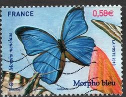 2010 Morpho Bleu - Morpho Menelaus, Valeur Faciale : 0,58 € Timbre Oblitéré. Les Papillons - France
