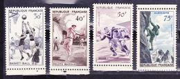 FRANCE 1956 SPORTS SET 4 BASKETBALL PELOTE BASQUE RUGBY ALPINISM MNH IV# 1072-1075 - France