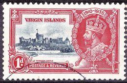 BRITISH VIRGIN ISLANDS 1935 KGVI Silver Jubilee 1d Deep Blue & Scarlet SG103 FU - British Virgin Islands