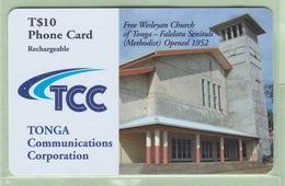 """Tonga - TCC Prepaid - 2002 Churches - $10 Free Wesleyan Church - """"TON-P-10c"""" - VFU - Tonga"""