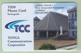 """Tonga - TCC Prepaid - 2002 Churches - $20 Catholic Church - """"TON-P-11"""" - VFU - Tonga"""