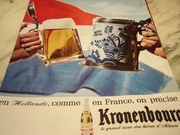 ANCIENNE PUBLICITE HOLLANDE  BIERE KRONENBOURG 1965 - Advertising