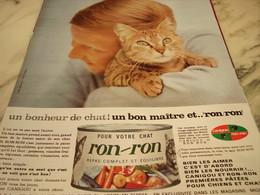 ANCIENNE PUBLICITE UN BONHEUR DE CHAT BOITE RON RON 1965 - Advertising