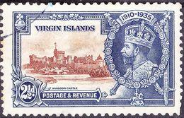 BRITISH VIRGIN ISLANDS 1935 KGVI Silver Jubilee 2.5d Brown & Deep Blue SG105 FU - British Virgin Islands