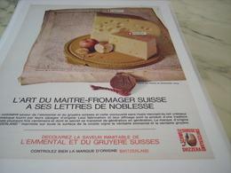 ANCIENNE   PUBLICITE FROMAGE GRUYERE ET EMMENTAL SUISSE 1965 - Advertising