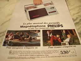 ANCIENNE PUBLICITE MAGNETOPHONE   PHILIPS 1965 - Musique & Instruments