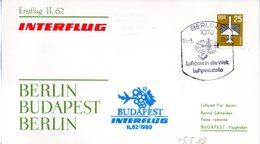 "(DDR-B3) DDR Sonderkarte ""INTERFLUG Erstflug IL62 Berlin-Budapest-Berlin"" EF Mi 3129, SSt. 15.5.1989 BERLIN 7 - Briefe U. Dokumente"
