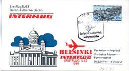 "(DDR-B3) DDR Sonderkarte ""INTERFLUG Erstflug IL62 Berlin-Helsinki-Berlin"" EF Mi 3163, SSt. 30.5.1989 BERLIN 7 - Briefe U. Dokumente"