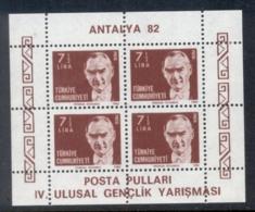 Turkey 1982 Kemal Ataturk , Antalya MS Perf MUH - 1921-... Republic
