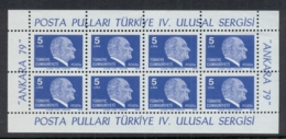Turkey 1979-81 Kemal Ataturk Sheet 8 MUH - Unused Stamps