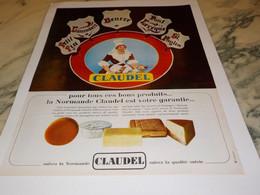 ANCIENNE  PUBLICITE  BON PRODUIT LA NORMANDE  CLAUDEL 1965 - Advertising