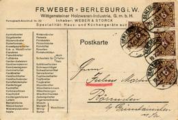 BERLEBURG - 19.7.1923 , Wittgensteiner Holzwaren-Industrie - Karte Nach Börnichen - Allemagne