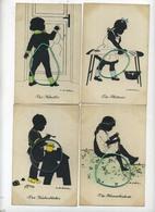 4 CARTES CARDS SILHOUET SILHOUETTE : Künstler-AK Ov. Alt-Stutterheim  ( See Scan For Detail ) Serie 582 - Silhouettes