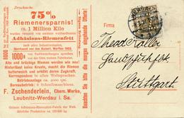 WERDAU - 1907 , Adhäsions-Riemenfett-Fabrik  F. Zschenderlein - Firmenlochung  F.Z. - Allemagne