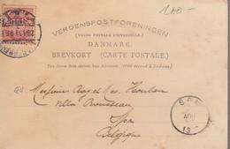 """5 ,öre / Cp De Copenhague / 20.8.07 ( Illustré Port Et """" Hilsen Fra  C ... ) -> SPA / Belgique - 1864-04 (Christian IX)"""