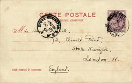 CONSTANTINOPEL - 1901 , BRITISH POST OFFICE - Postcard To London - 1858-1921 Osmanisches Reich