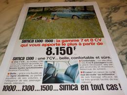 ANCIENNE AFFICHE  PUBLICITE VOITURE 1300 DE SIMCA 1965 - Advertising