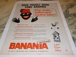 ANCIENNE PUBLICITE VOUS POUVEZ VIVRE SANS BANANIA 1965 - Publicités