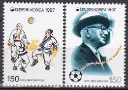 South Korea KPCC1444-5 2002 FIFA World Cup Soccer, Jules Rimet, Painting Of Chukkuk - Corée Du Sud