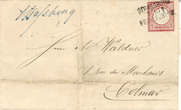 1872- Lettre De Strasbourg  Affr. 1 Groschen  Oblit. STRASBOURG / 7;10;2 / FRANKFURT  Pour Colmar - Marcophilie (Lettres)