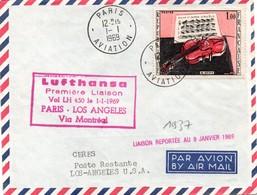Paris Aviation Montreal Los Angeles 1969 - 1er Vol Lufthansa- USA Canada - Erstflug Inaugural Flight - Marcophilie (Lettres)