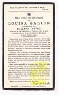 DP Louisa Gallin ° Aartrijke Zedelgem 1867 † Bekegem Ichtegem 1934 X Edw. Vyvey - Devotion Images