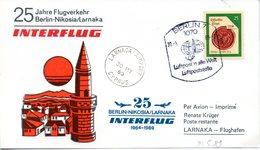 """(DDR-B3) DDR Sonderkarte """"INTERFLUG 25 Jahre Flugverkehr Berlin-Nikosia/Larnaka"""" EF Mi 3157, SSt. 30.5.1989 BERLIN 7 - [6] République Démocratique"""