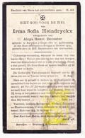 DP Irma S. Heindryckx ° Aartrijke Zedelgem 1882 † Brugge 1932 X Aloys H. DeCoster - Images Religieuses