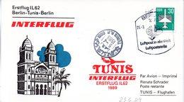 """(DDR-B3) DDR Sonderkarte """"INTERFLUG Erstflug IL62 Berlin-Tunis-Berlin"""" EF Mi 2751, SSt. 26.3.1989 BERLIN 7 - [6] République Démocratique"""
