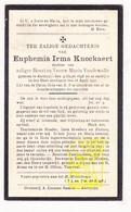 DP Euphemia I. Knockaert / VandeWalle 32j. ° Aartrijke Zedelgem 1898 † 1931 - Images Religieuses