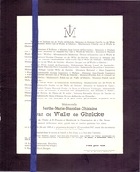 Devotie Devotion Doodsbrief Adel Noblesse - Berthe Van De Walle De Ghelcke - Bruges Brugge 1885 - 1947 - Décès