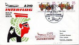 "(DDR-B3) DDR Sonderumschlag ""INTERFLUG Erstflug A310 Berlin-Kairo-Berlin"" MeF 2x Mi 3102, SSt. 14.6.1990 BERLIN 7 - DDR"