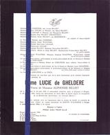Doodsbrief Adel Noblesse Dame Lucie De Gheldere - Koekelare 1876 - Bruges Brugge 1964 - Décès
