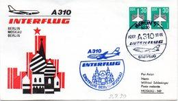 """(DDR-B3) DDR Sonderumschlag """"INTERFLUG Erstflug A310 Berlin-Moskau-Berlin"""" MeF 2x Mi 2751, SSt. 2.7.1990 BERLIN 7 - DDR"""