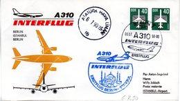 "(DDR-B3) DDR Sonderumschlag ""INTERFLUG Erstflug A310 Berlin-Istambul-Berlin"" MeF 2x Mi 2752, SSt. 6.7.1990 BERLIN 7 - DDR"