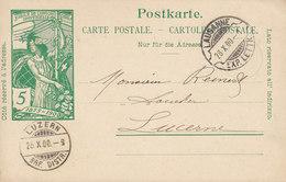 Switzerland UPU Weltpostverein Postal Stationery Ganzsache Entier LAUSANNE 1900 LUZERN (Arrival) (2 Scans) - Ganzsachen