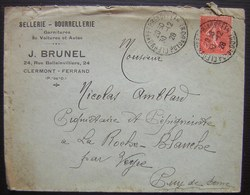 Clermont-Ferrand (Puy De Dôme) 1928 J Brunel Sellerie Bourrellerie Garnitures De Voitures Et Autos - Marcophilie (Lettres)