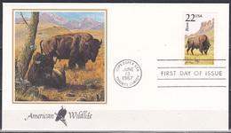 USA 1987 Tiere Fauna Animals Tierwelt Wildlife Bison Rinder, Mi. 1917 FDC - First Day Covers (FDCs)