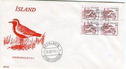 Iceland/Islande/Ijsland/Island FDC 20.VIII.1981 Birds Block Of 4 Cover FV-82 - FDC