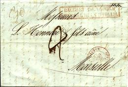 Cachet D'entrée De MESSINE  Par PACCHET D'ETAT ITALIA-Entrée OUTREMER MARSEILLE - 1844 - - 1801-1848: Précurseurs XIX