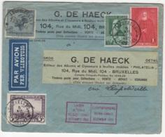 Lettre Envoyée Par Avion (per Vliegtuig) De Bruxelles Vers Léopoldville En 1930 . A Voir !! - Postmark Collection