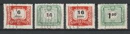 MiNr. 204, 208, 209, 219 Ungarn, Portomarken 1953, 8. August. 50 Jahre Ungarische Portomarken - Portomarken