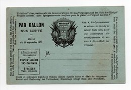 - FRANCE - GUERRE DE 1870 - PAR BALLON NON MONTÉ - Décret Du 26 Septembre 1870 - Couleur Bleu - - Poststempel (Briefe)