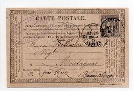 - FRANCE - Carte Postale LYON Pour MONTAGNAC 28.3.1877 - 15 C. Gris Type Sage II - - Postmark Collection (Covers)