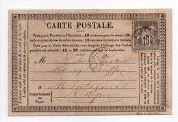 - FRANCE - Carte Postale RIANS Pour MONTAGNAC 19.10.1877 - 15 C. Gris Type Sage II - - Postmark Collection (Covers)