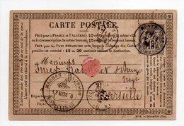 - FRANCE - Carte Postale MONTELIMAR Pour MARSEILLE 14.3.1878 - 15 C. Gris Type Sage II - - Marcophilie (Lettres)