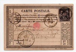 - FRANCE - Carte Postale MONTELIMAR Pour MARSEILLE 3.6.1878 - 10 C. Noir S. Lilas Type Sage II - - Marcophilie (Lettres)