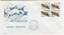 Iceland/Islande/Ijsland/Island FDC 24.I.1980 Arctic Fox Block Of 4 Matching Cover FM-238 - FDC