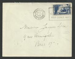 Paris , Chomeurs Intélectuel N° 307seul Oblitéré Du 16 7 1936 - Marcophilie (Lettres)