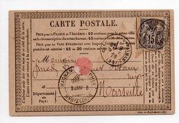 - FRANCE - Carte Postale MONTELIMAR Pour MARSEILLE 9.1.1878 - 15 C. Gris Type Sage II - - Marcophilie (Lettres)